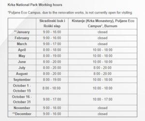 режим работы национального парка КРКА