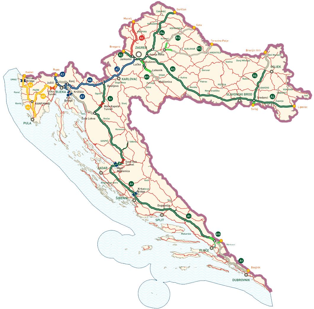 Карта платных дорог в Хорватии