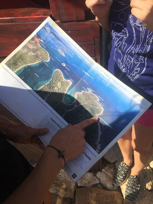 карта маршрута на каяке в хорватии