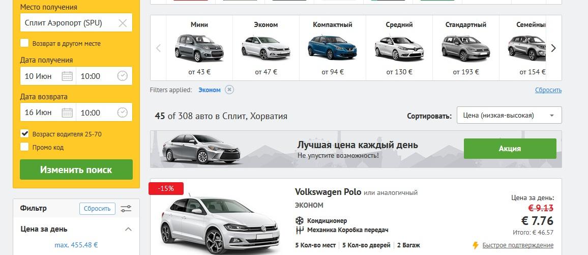 аренда авто в хорватии