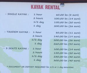 цена каяка в хорватии