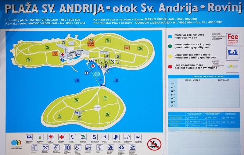 карта црверни оток или красного острова ровинь