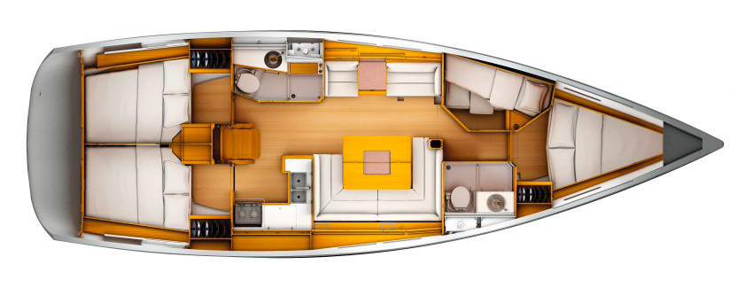 план схема кают яхты
